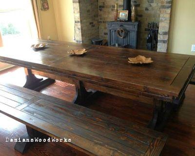 Custom Made 7 Foot Long Triple Pedestal Farmhouse Table!! $1,150