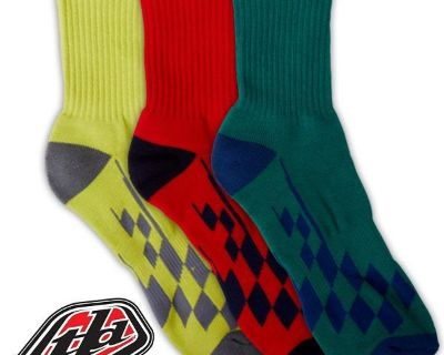 Troy Lee Designs Tld Crew Socks- Race Checkered Multi 3-pack- 2 Sizes