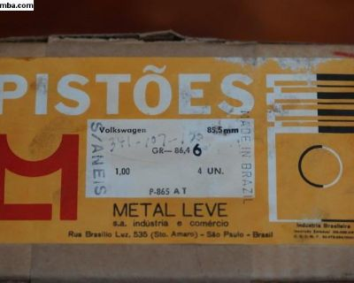 NOS Piston Set of 4 - 85.5/1.00 Metal Leve Brazil