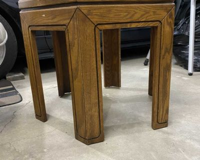 Solid Wood end table with glass insert