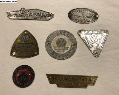 Early VW Dealer Badges