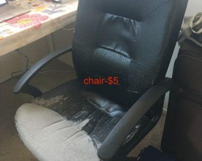coffee table, chair.