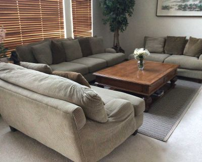 Comfortable contemporary living room set - couch, 2 loveseats, coffee table