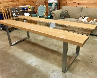 Live edge sinker cypress slab table