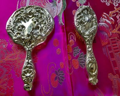 Antique Sterling Silver Brush & Mirror