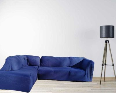 Leather sectional left side Chaise with brand new cover