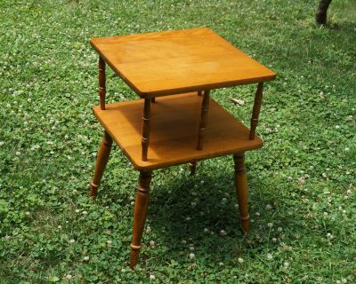Two Tier Solid Maple Side Table