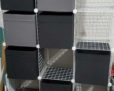12 cubed wire organizer with 12 fabric drawers