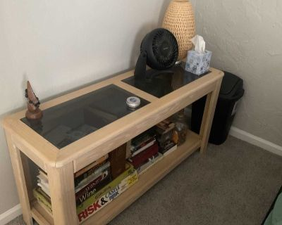 Display table with glass.