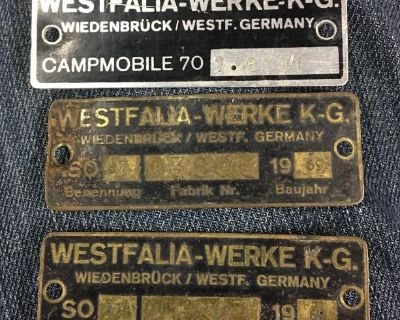 Westy tags 68/69/70