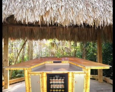 Tiki Bar, outdoor patio bar, deck bar with storage cabinets & refrigerator compartment