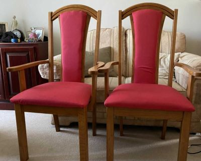 2 Wooden Dining Room Arm Chairs