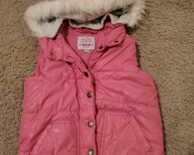 Pink vest with removable hood- size M