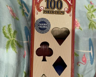 BOX OF 100 POKER CHIPS BY BICYCLE. CP