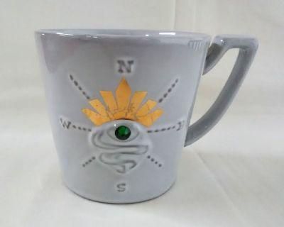 Starbucks Coffee Mug Green Stone Siren Eye Gold Crown Compass