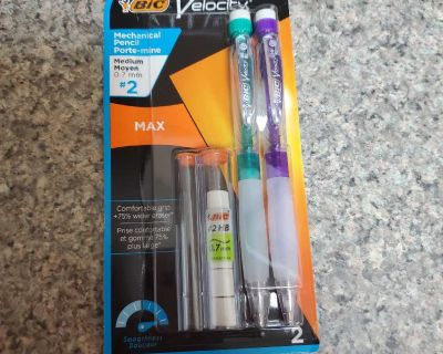 BIC, VELOCITY, 2 MEDIUM #2 PENCILS, BRAND NEW NEVER BEEN OPENED, EXCELLENT CONDITION, SMOKE FREE HOUSE