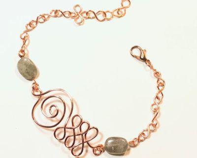 Copper Unalome Bracelet with Labradorite Bead