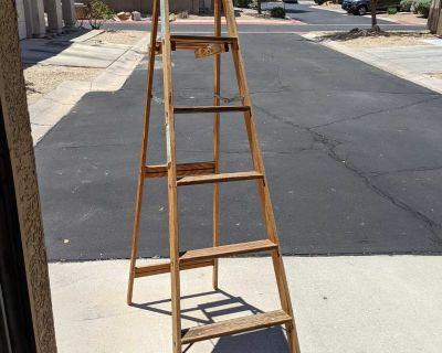 Used Keller 6ft W-6 Type III Wooden A frame Ladder. Good sturdy ladder.