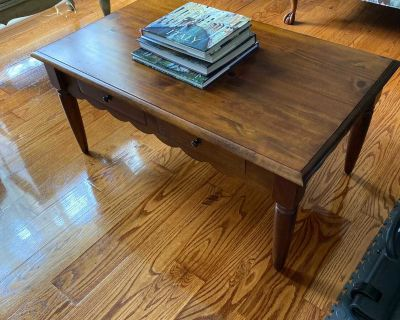 Pier One coffee table. Great used condition. Few regular nicks on surface. $50.