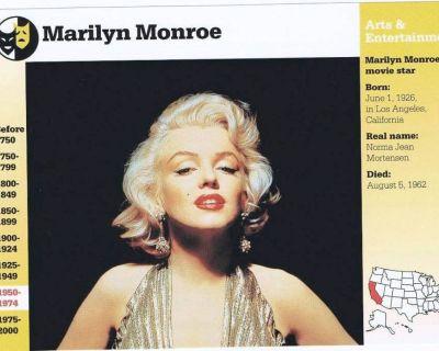 Entertainment Misc. Info. Cards - Marilyn Monroe, Elvis, Katherine Hepburn