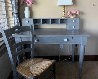 Pottery barn kids desk, hutch and matching chair