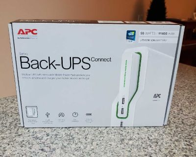APC, BACK-UPS CONNECT, 3 YR WARRANTY, 50 WATTS/11400 MAH, BRAND NEW NEVER BEEN OPENED STILL HAS SEAL, EXCELLENT CONDITION, SMOKE FREE HOUSE