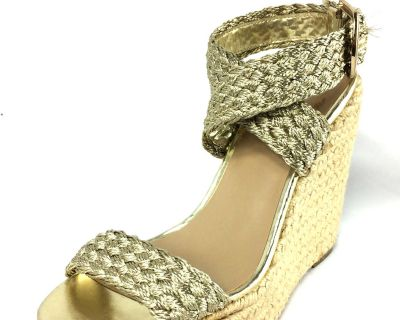 Gold Espadrille Wedge Sandals