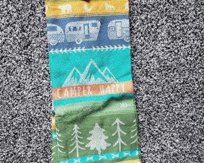 Brand new with tag- dish towel- happy camper