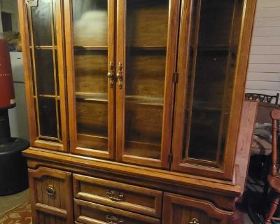 Solid Wood China Cabinet, Table with Leaf and 6 chairs