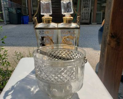 Crystal ice bucket and whisky decanters