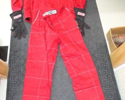 Crow Enterprises Race Suit, Neck Collar Support & Gloves