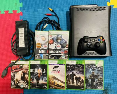 Xbox 360 Console Bundle with Controller and 7 Games