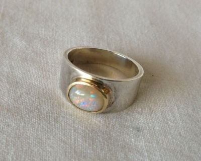 Opal Ring - Size 6 - 14K Silver with Gold Bezel