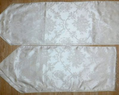 Set of 2 Table Runners ~White on Ivory w/tassels