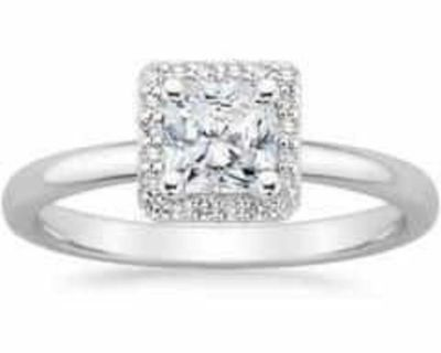 2.16 ct. Radiant Cut Diamond Halo Ring in White Gold