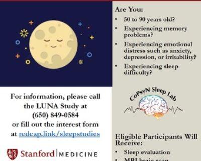 Adults (50-90) Paid Sleep, Depression, Anxiety, Memory Study