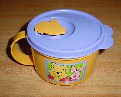 Gently Used Vintage Tupperware Disney Winnie The Pooh CrystalWave 16 Oz. Microwave Soup Mug With Rocker Vent. Use For Soups, Instant...
