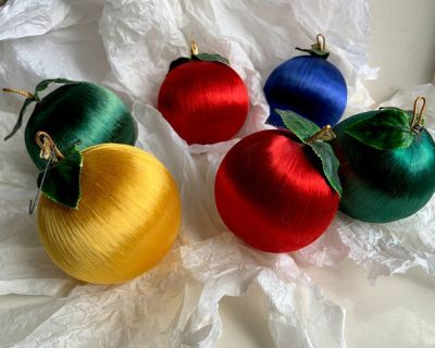 6 Satin Christmas Tree Ornaments