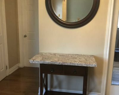 Wood table and mirror