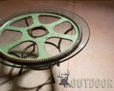 FS/FT Steam Punk Antique Gear Vintage Gear Coffee Glass Table you can design we build