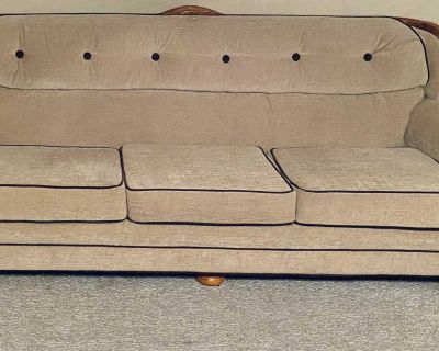 Tan/swayed material/real wood couch just had this reupholstered/new foam great condition no smoking or pets must pick up in angleton