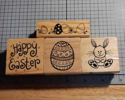4 rubber stamps Happy Easter, bunny, eggs, egg border
