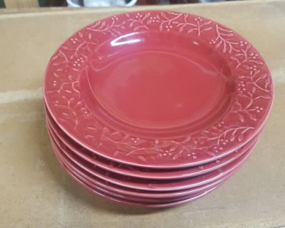 Set of 6 Small Red Plates