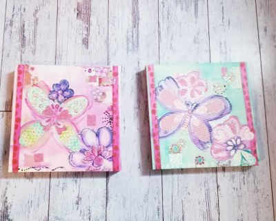 Girl's Bedroom Butterfly Canvas Set
