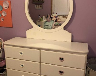 Girl s Bedroom Furniture ONLY-Twin bed frame, headboard, footboard, dresser, nightstand & box spring