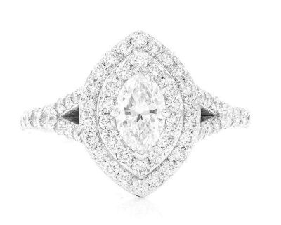 Marquise Double Halo Engagement Ring 14K 1.60ctw