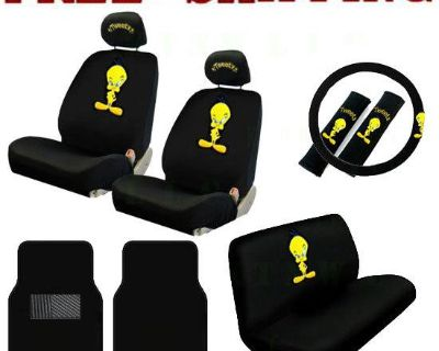 New Cartoon Tweety Bird Car Seat Covers Steering Wheel Cover & Floor Mats Set