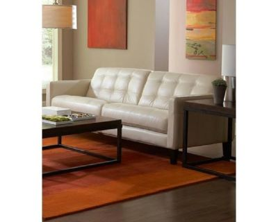 Milian Pearl/white All Leather Sofa - FURNITURE NOW <== LEATHER FURNITURE OUTLETS