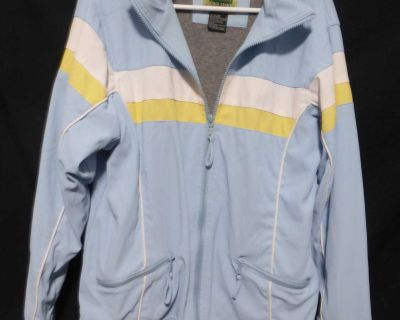 WEATHER SPIRITS, medium, spring and early fall jacket with fleece lining *shell is peeling as it's not supposed to be in the dryer