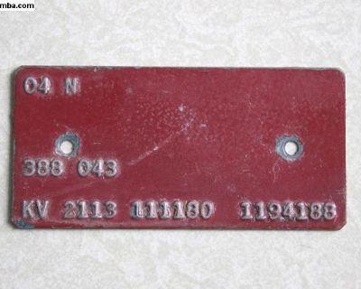 Orig. VW Nov. 1963/64 M-Code Plate Panel
